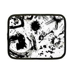 Pattern Color Painting Dab Black Netbook Case (Small)