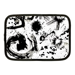 Pattern Color Painting Dab Black Netbook Case (Medium)