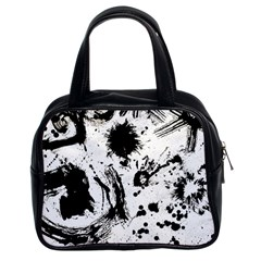 Pattern Color Painting Dab Black Classic Handbags (2 Sides)