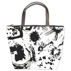 Pattern Color Painting Dab Black Bucket Bags