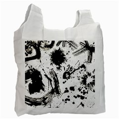 Pattern Color Painting Dab Black Recycle Bag (One Side)
