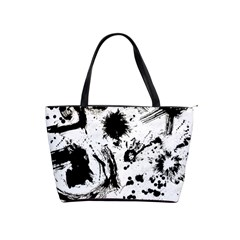 Pattern Color Painting Dab Black Shoulder Handbags
