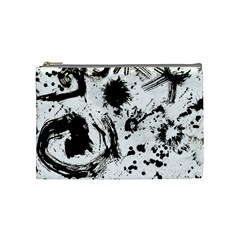 Pattern Color Painting Dab Black Cosmetic Bag (Medium)