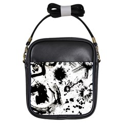 Pattern Color Painting Dab Black Girls Sling Bags