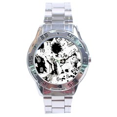 Pattern Color Painting Dab Black Stainless Steel Analogue Watch