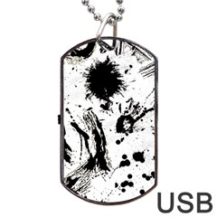 Pattern Color Painting Dab Black Dog Tag USB Flash (Two Sides)