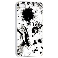 Pattern Color Painting Dab Black Apple iPhone 4/4s Seamless Case (White)