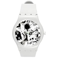 Pattern Color Painting Dab Black Round Plastic Sport Watch (M)
