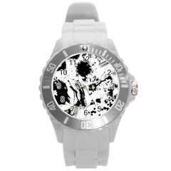 Pattern Color Painting Dab Black Round Plastic Sport Watch (L)