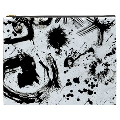 Pattern Color Painting Dab Black Cosmetic Bag (XXXL)