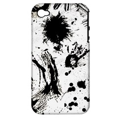 Pattern Color Painting Dab Black Apple iPhone 4/4S Hardshell Case (PC+Silicone)
