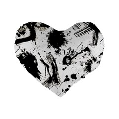 Pattern Color Painting Dab Black Standard 16  Premium Heart Shape Cushions