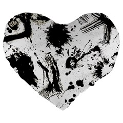 Pattern Color Painting Dab Black Large 19  Premium Heart Shape Cushions