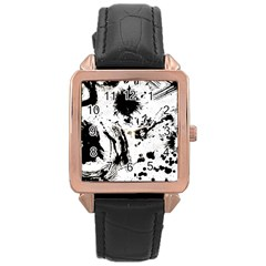 Pattern Color Painting Dab Black Rose Gold Leather Watch