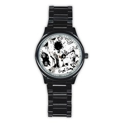 Pattern Color Painting Dab Black Stainless Steel Round Watch