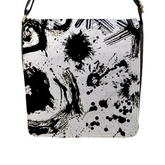 Pattern Color Painting Dab Black Flap Messenger Bag (L)