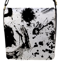 Pattern Color Painting Dab Black Flap Messenger Bag (S)