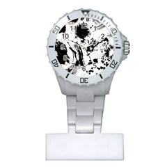 Pattern Color Painting Dab Black Plastic Nurses Watch