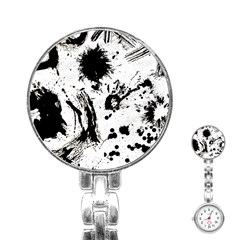 Pattern Color Painting Dab Black Stainless Steel Nurses Watch