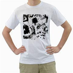 Pattern Color Painting Dab Black Men s T-Shirt (White)