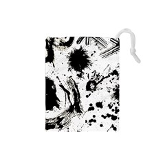 Pattern Color Painting Dab Black Drawstring Pouches (Small)
