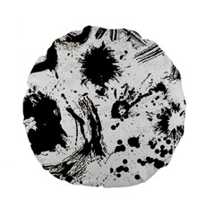 Pattern Color Painting Dab Black Standard 15  Premium Flano Round Cushions