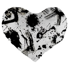 Pattern Color Painting Dab Black Large 19  Premium Flano Heart Shape Cushions