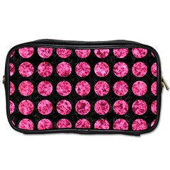 Circles1 Black Marble & Pink Marble Toiletries Bag (two Sides)