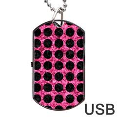 CIR1 BK-PK MARBLE (R) Dog Tag USB Flash (One Side)