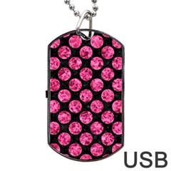 CIR2 BK-PK MARBLE Dog Tag USB Flash (One Side)