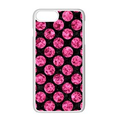 Circles2 Black Marble & Pink Marble Apple Iphone 7 Plus White Seamless Case