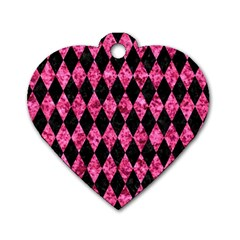 DIA1 BK-PK MARBLE Dog Tag Heart (Two Sides)