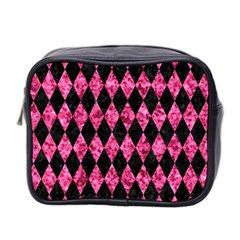 Diamond1 Black Marble & Pink Marble Mini Toiletries Bag (two Sides)