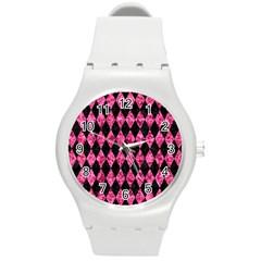 DIA1 BK-PK MARBLE Round Plastic Sport Watch (M)