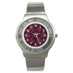 Damask1 Black Marble & Pink Marble Stainless Steel Watch