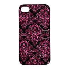 DMS1 BK-PK MARBLE Apple iPhone 4/4S Hardshell Case with Stand