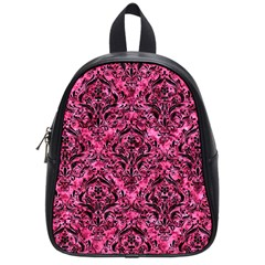 Damask1 Black Marble & Pink Marble (r) School Bag (small)