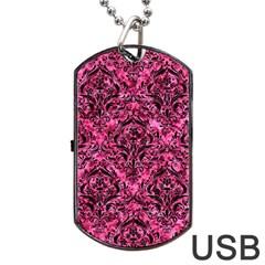 DMS1 BK-PK MARBLE (R) Dog Tag USB Flash (One Side)