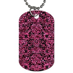 Damask2 Black Marble & Pink Marble Dog Tag (two Sides)