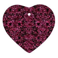 DMS2 BK-PK MARBLE Heart Ornament (2 Sides)
