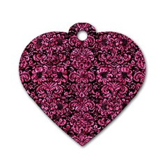 DMS2 BK-PK MARBLE Dog Tag Heart (One Side)