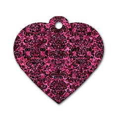 DMS2 BK-PK MARBLE (R) Dog Tag Heart (Two Sides)