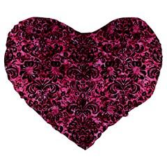 DMS2 BK-PK MARBLE (R) Large 19  Premium Heart Shape Cushions