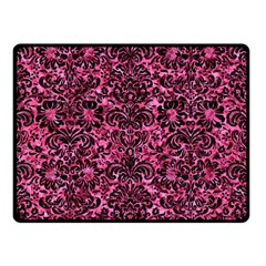 Damask2 Black Marble & Pink Marble (r) Double Sided Fleece Blanket (small)