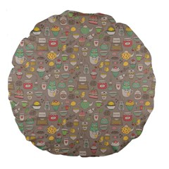 Tea Party Pattern Large 18  Premium Flano Round Cushions