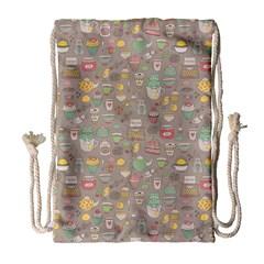Tea Party Pattern Drawstring Bag (Large)