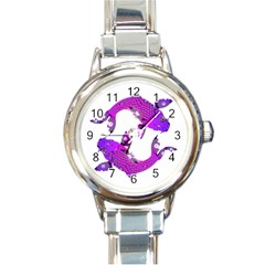 Koi Carp Fish Water Japanese Pond Round Italian Charm Watch
