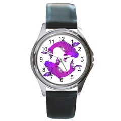 Koi Carp Fish Water Japanese Pond Round Metal Watch