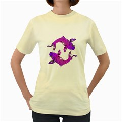 Koi Carp Fish Water Japanese Pond Women s Yellow T-Shirt