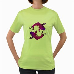 Koi Carp Fish Water Japanese Pond Women s Green T-Shirt